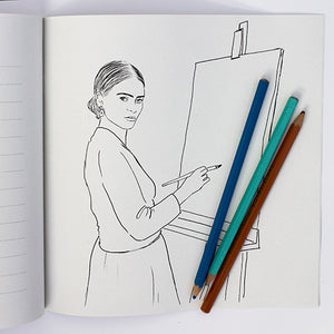 Colour Me Good Modern Art colouring book - Frida Kahlo portrait colouring page - by Mel Elliott