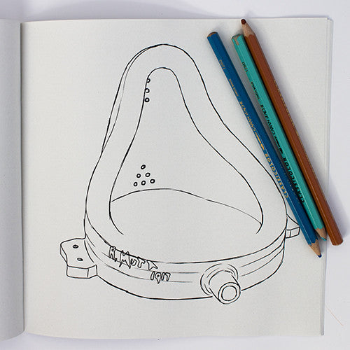 Colour Me Good Modern Art colouring book - Marcel Duchamp's Fountain colouring page - by Mel Elliott