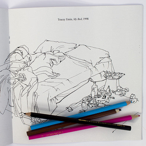 Colour Me Good Modern Art colouring book - Tracy Emin's My Bed colouring page - by Mel Elliott