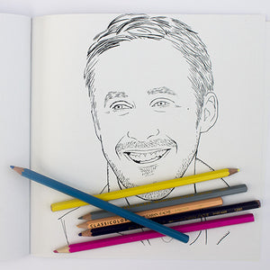 Ryan Gosling colouring page. Coloured pencils. Ryan Gosling smiling.