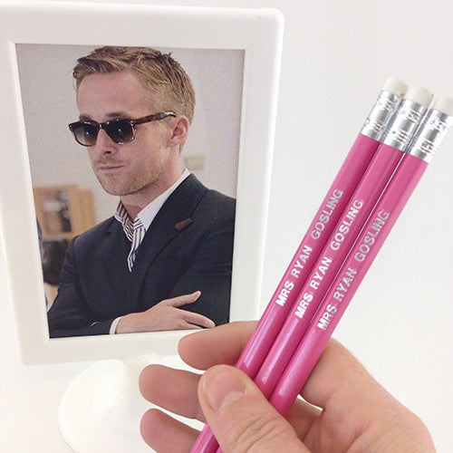 Mrs Ryan Gosling Pencils - novelty hand stamped pencils - pop culture pencils by Mel Elliott