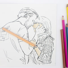 Ryan Gosling colouring page. Ryan Golsing and Michelle Williams. Ryan Gosling in Blue Valentine.