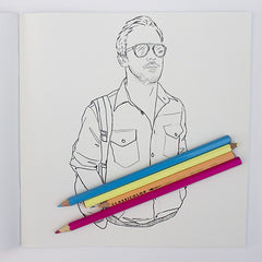 Ryan Golsing colouring page. Ryan Gosling in jacket. Ryan Golsing paparazzi photo.