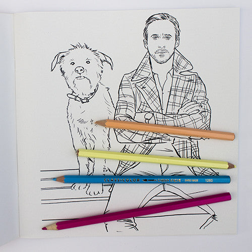 Ryan Gosling colouring page. Ryan Gosling with dog. George.
