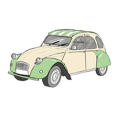 Seeing Double pairs card - parlour memory game - citroen dyane 2cv card detail - by Mel Elliott
