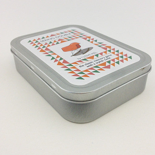 Seeing Double pairs card - parlour memory game - tin case - by Mel Elliott