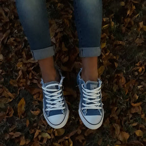 Denim sepia style canvas shoes