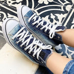 Load image into Gallery viewer, Women's High-Top Canvas Denim Flats