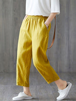 Load image into Gallery viewer, Women's plus size cotton linen elastic pants