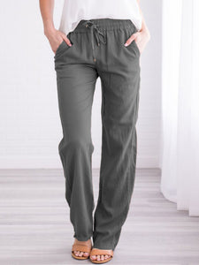 Women's plus size cotton and linen casual trousers