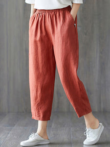 Women's plus size cotton linen elastic pants