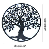 3D Round Wall Hanging Sculpture Decoration 60cm Tree of Life Iron Art Home Room Hanging Ornament Iron Tree Wall Decoration Black