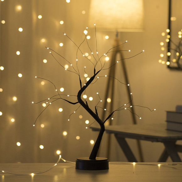 1 PC USB Fire Tree Light Copper Wire Table Lamps LED Night Light For Home Bedroom Wedding Party Bar Christmas Decoration