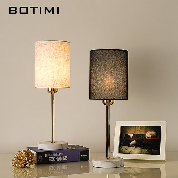 BOTIMI Europe Table Lamp With Cloth Lampshade For Bedroom Bedside White Black Table Reading Lights Modern Living Room Lighting