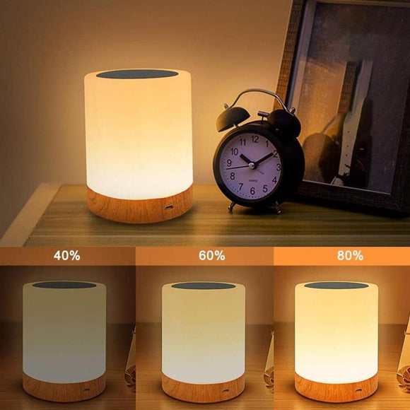 Nordic Style Solid Wood Table Lamp Modern Living Room Bedroom Colorful Touch Sensor Night Lights USB Rechargeable Bedside Lamps