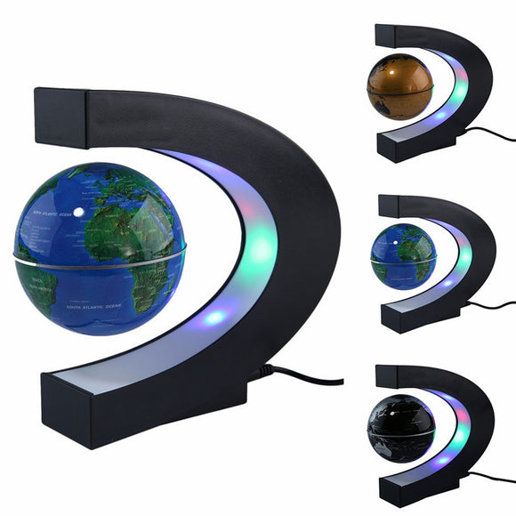 Magnetic Levitation Floating LED World Map Globe C Shape Light Antigravity Magnetive Ball Xmas Birthday Home Decoration dropship