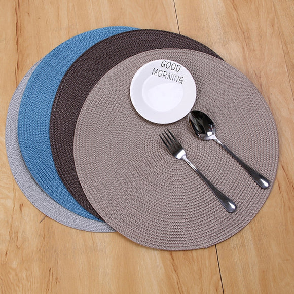 1pc 18cm/38cm Homedecor Placemats, Round Woven Placemats Heat Resistant Kitchen Anti-skid Table Mat