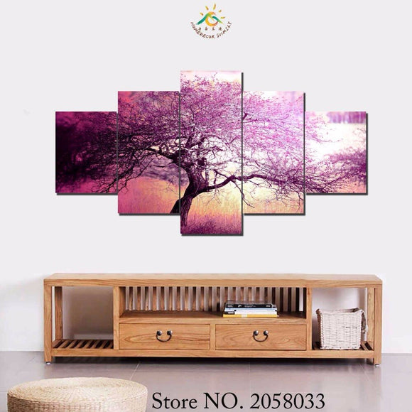 3-4-5 Pieces Autumn Trees Modern Decorative Picture Printed Pictures Unicorn Horse Group Painting Room Decor  Printed Canvas