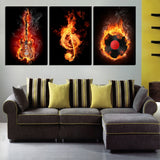 3 Pieces/set Wall Art Decorative Painting Paint on Canvas Prints Black And Yellow Burning Guitar Musical Note Pictures Unframed