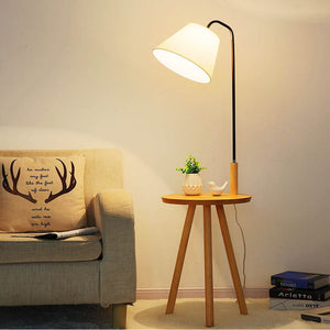 Artpad Modern Farbic Lampshade Floor Lamp with Wood Table Nordic Standard Lamp E27 Foyer Study Bedroom Hotel Lighting Fixture