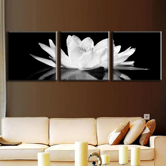 3 Pieces/set Canvas Print Flower White Lotus In Black Wall Art Picture with Modern Wall Paintings Modular picture (Unframed)