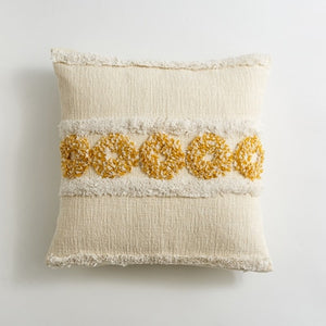 Handmade Yellow White Circle Daisy Pillow Cover with Tassels Moroccan Style Cushion Cover 45x45cm Blue Stripe  HomeDecoration