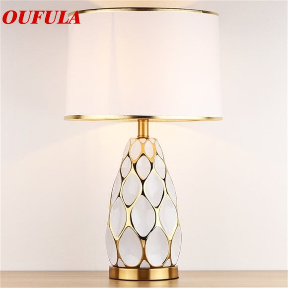 AOSONG Ceramic Table Lamps Desk Luxury Modern Contemporary Fabric for Foyer Living Room Office Creative Bed Room Hotel