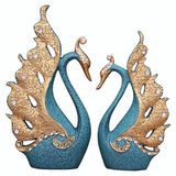 Home Decoration Accessories A Couple of Swan Statue Home Decor Sculpture Modern Art Ornaments Wedding Gifts for Friends Lovers