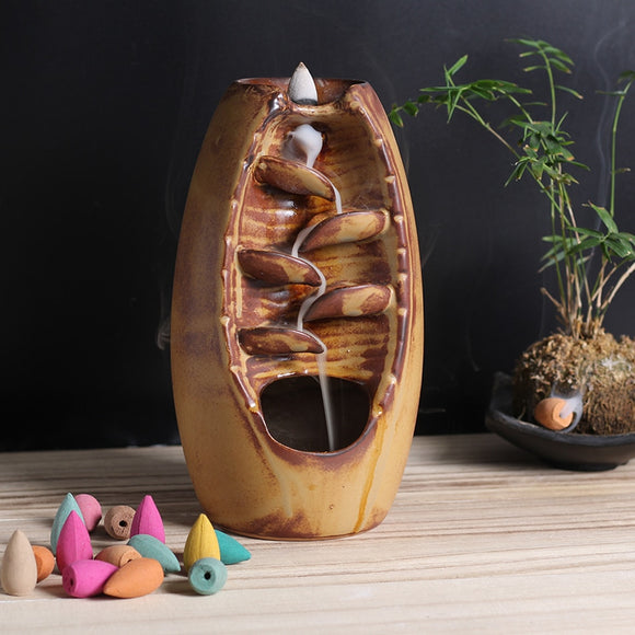 100PCS Hot sale Mountain River Handicraft Incense Holder Ceramic Backflow Waterfall Smoke Incense Burner Mother's Gift HomeDecor