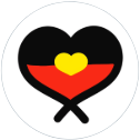 Aboriginal flag in heart sticker