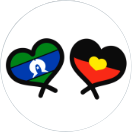 Aboriginal and Torres Strait Islander flags in hearts sticker.