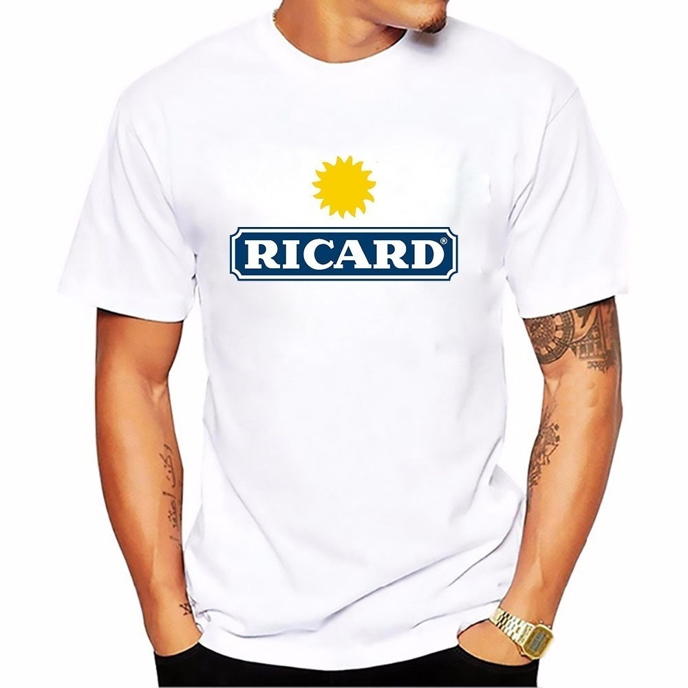 Fashion Ricard Mens Cotton T-shirt Printed Summer Funny Graphic Tee Shirt