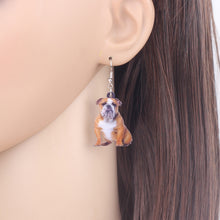 Load image into Gallery viewer, Acrylic Lovely British Bulldog Puppy Dog Earrings Dangle Drop Fashion Animal Jewelry For Women Girls Teens Pets Gift