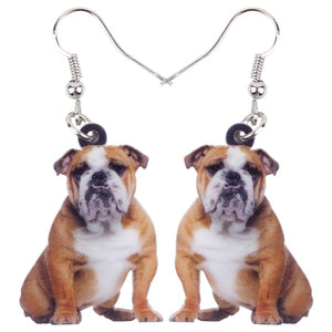 Acrylic Lovely British Bulldog Puppy Dog Earrings Dangle Drop Fashion Animal Jewelry For Women Girls Teens Pets Gift