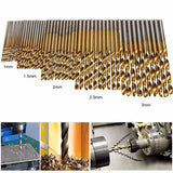 50pcs Set High Speed Steel Twist Drill Titanium Coated HSS Drill Hand Tools Drill Bit Set