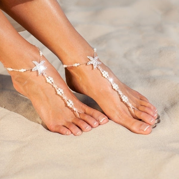 Feelingirl 1 Pc Beach Wedding Barefoot Sandals Bridal Foot Jewelry Starfish Barefoot Sandals Bridal Shoes White Footless Sandals Chain