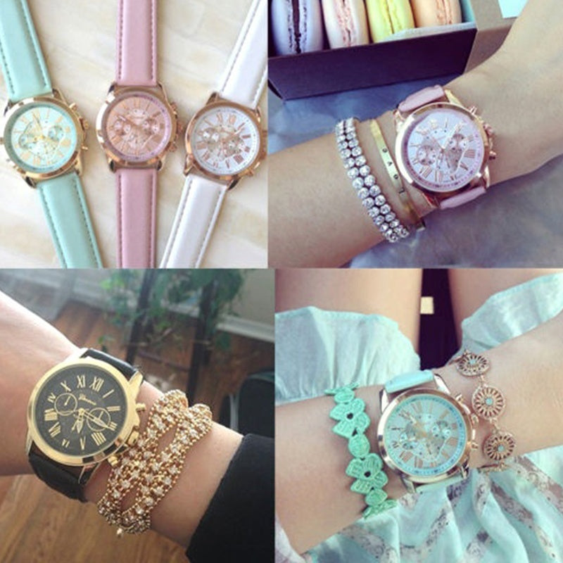 1PCS Exquisite Women Ladies Belt Pointer Watch Festival Gift Electronic PU Watch