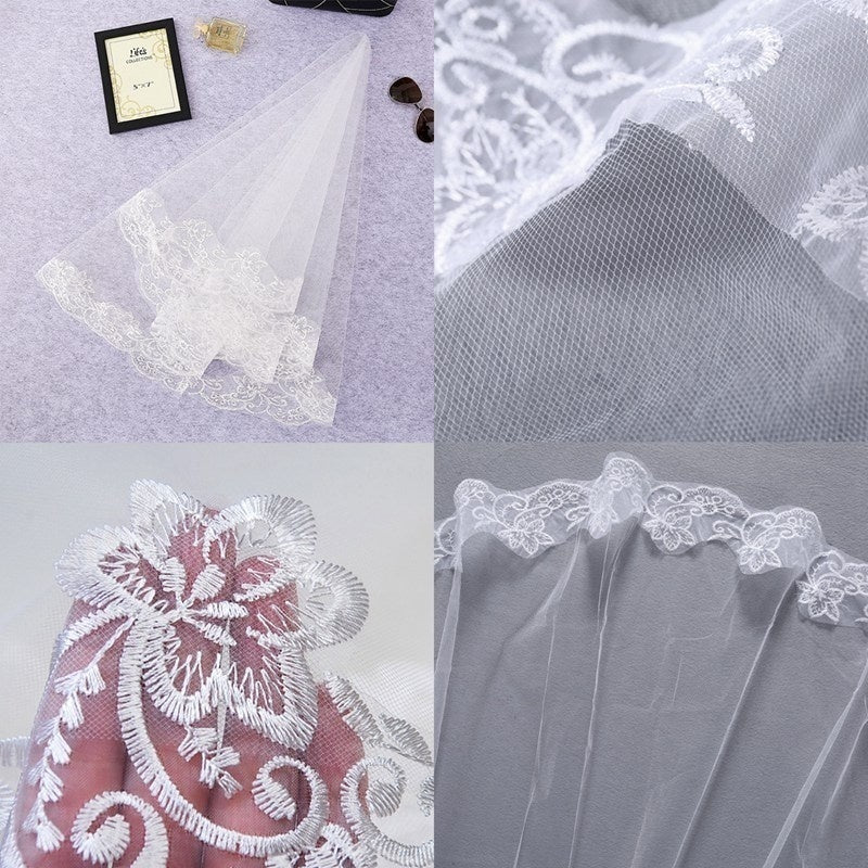Light lace veil bride wedding romantic wedding tiara wedding dress accessories Cathedral veil