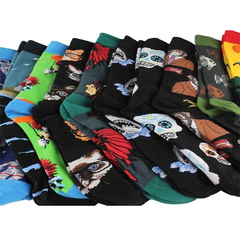 1 Pair Combed Cotton Fashion Hip Hop Men Socks Trend Harajuku Clown Chicken Skateboard Happy Socks Funny