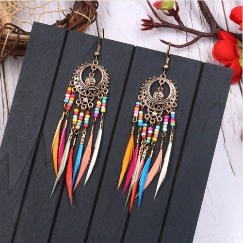 2019 Gold-plated Silver Plating Vintage Ethnic Hollow Ellipse Rainbow Beads Feather Dangle Drop Earrings for Women Female Boho Jewelry Accessories