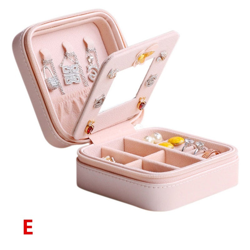 Creative Portable Jewelry Box Travel Comestic Jewelry Casket Organizer Makeup Lipstick Storage Earring Ring Box Beauty Container Necklace Birthday Gift for Lady
