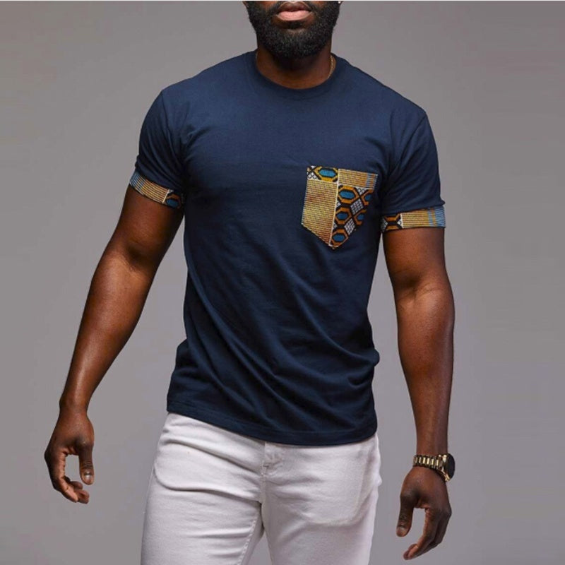 2019 3 Color The Man Fashion Pocket Print O-Neck Brief T-Shirt Summer Man Casual Slim Fit Shirt Street Style Patchwork Cotton Male Short Sleeve Tops