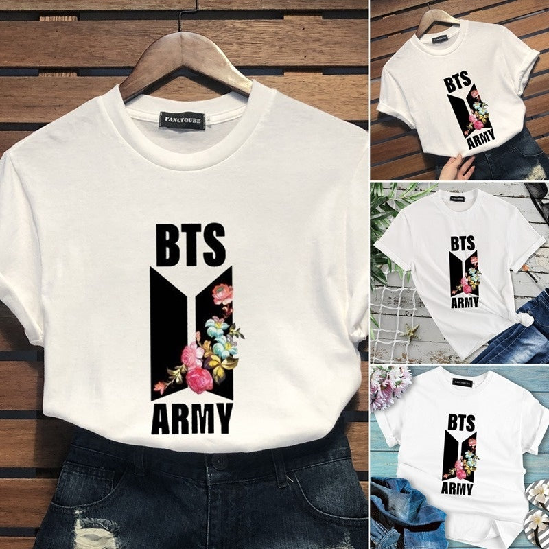 Women New Short Sleeve T-Shirt Floral And Letter Printed Bts Tee Shirt Graphic Tops For Girl And Lady