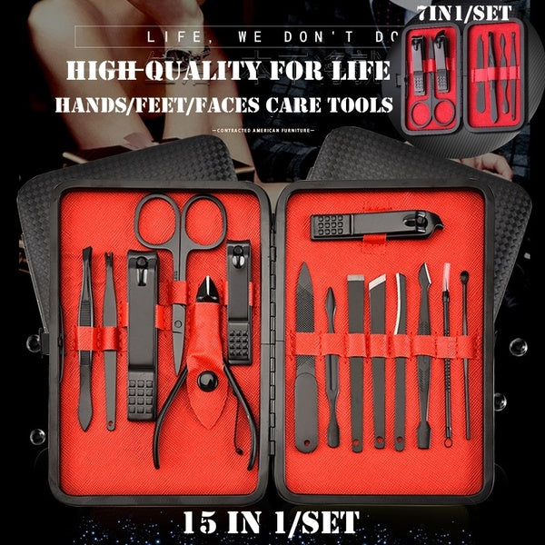 Manicure Set - 7 In 1/15 In 1 Stainless Steel Professional Pedicure Kit Nail Scissors Grooming Kit with Black Leather Travel