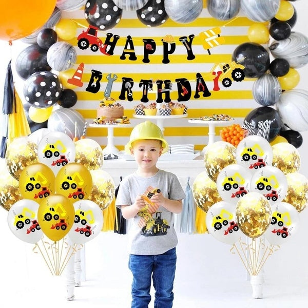 Excavator Latex Balloons Car Decoration Construction Vehicle Balloons Cake Topper Confetti Balloon Theme Baby Birthday Party Decoration