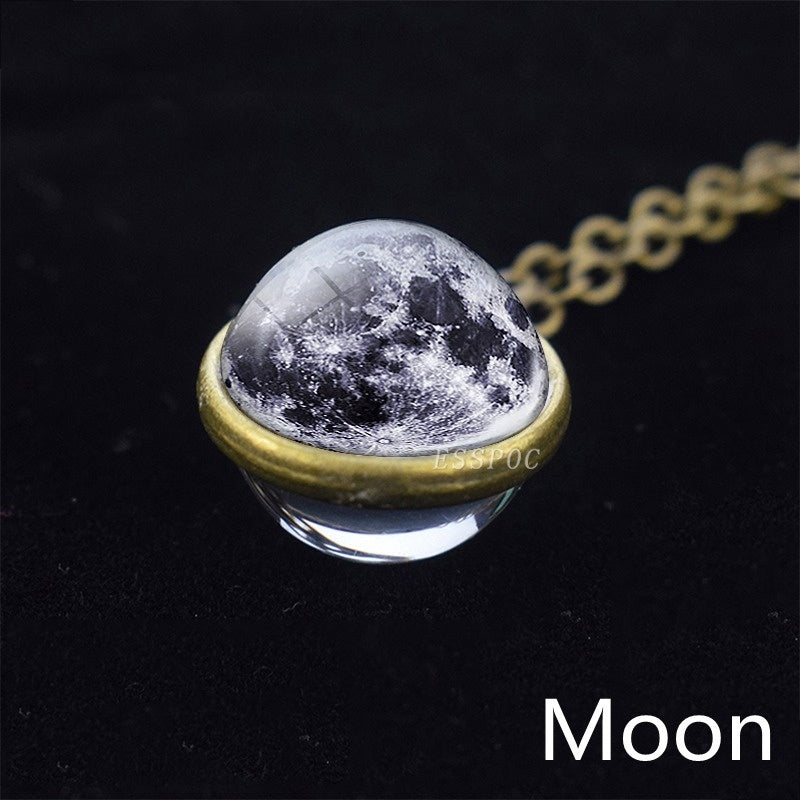 Fashion Solar System Moon Earth Mars Venus Jupiter Planet Necklace Double Side Glass Ball Necklace Pendant Outer Space Jewelry