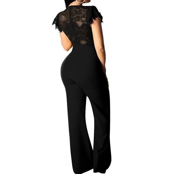 2019 Fashion Women Sexy Deep V Neck Elegant Long Jumpsuit Soild Color Bodycon Lace Stitching Chest Bowknot Jumpsuits Romper