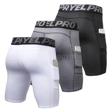 Load image into Gallery viewer, 3 Pack Men Compression Shorts Active Workout Underwear with Pocket
