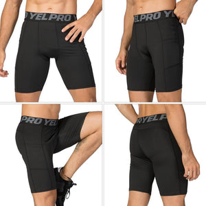 3 Pack Men Compression Shorts Active Workout Underwear with Pocket