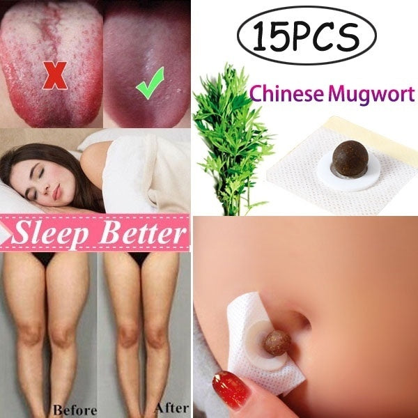 15 PCS Dampness-Evil Removal Chinese Mugwort Navel Sticker Weight Loss Belly Patch Improve Cold Uterus Irregular Menstruation Stomach Discomfort